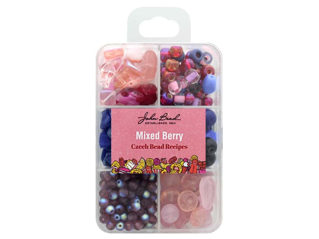 John Bead Czech Bead Recipe Box - Mixed Berry