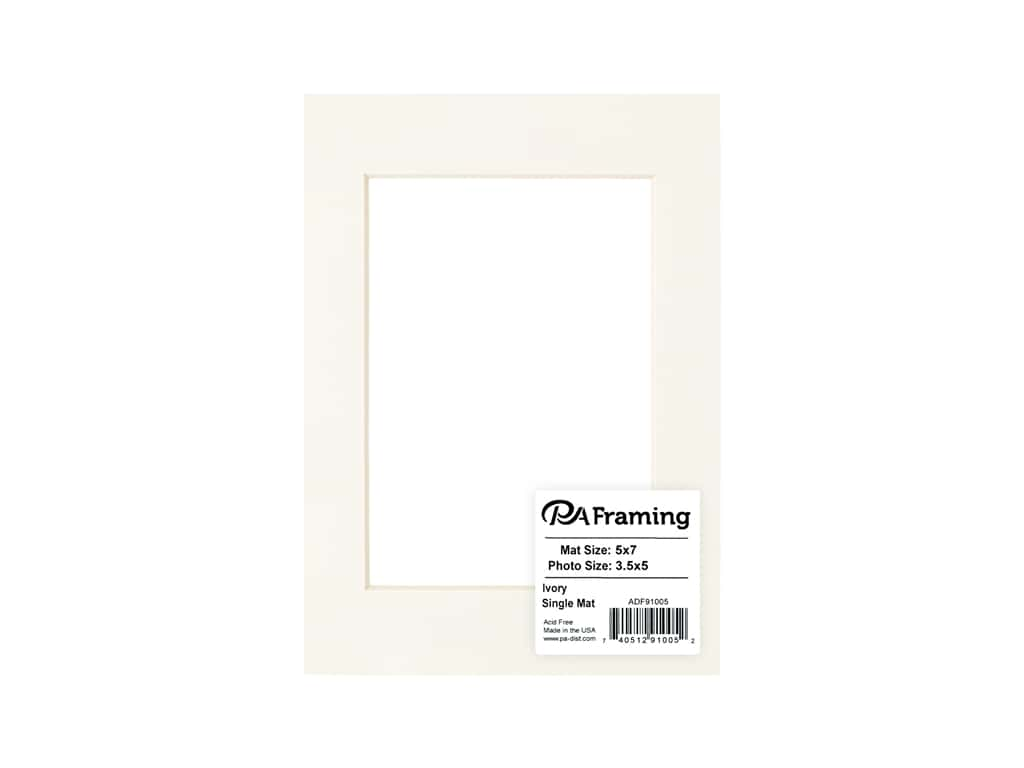 PA Framing Pre-cut Photo Mat Board Cream Core 5 x 7 in. for 3 1/2 x 5 in. Photo Ivory