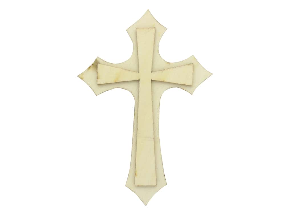 Plaid Wood Unfinished Shape Cross
