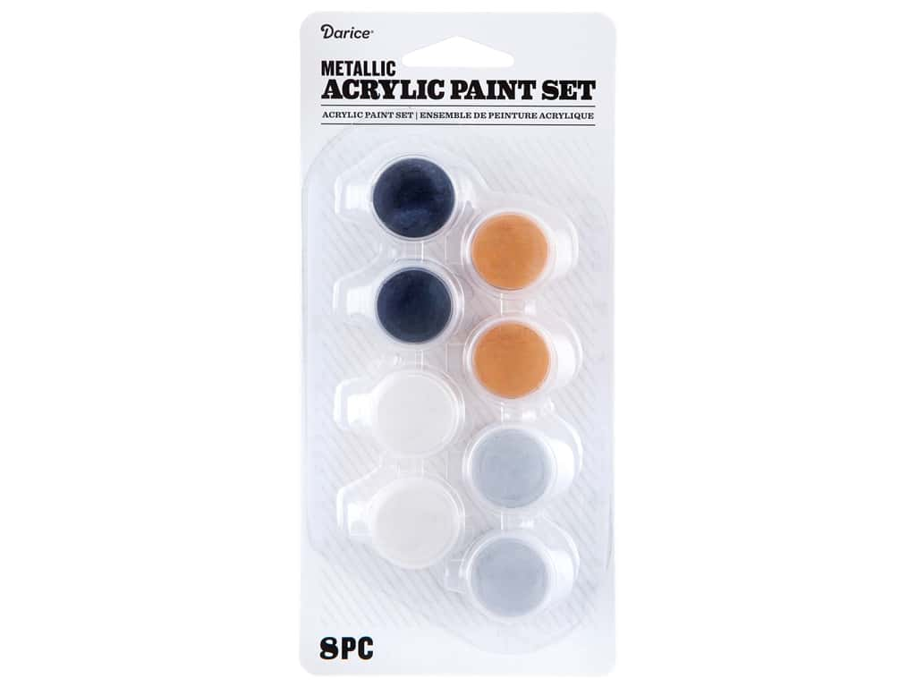 Darice Paint Pot Acrylic Metal 8 pc