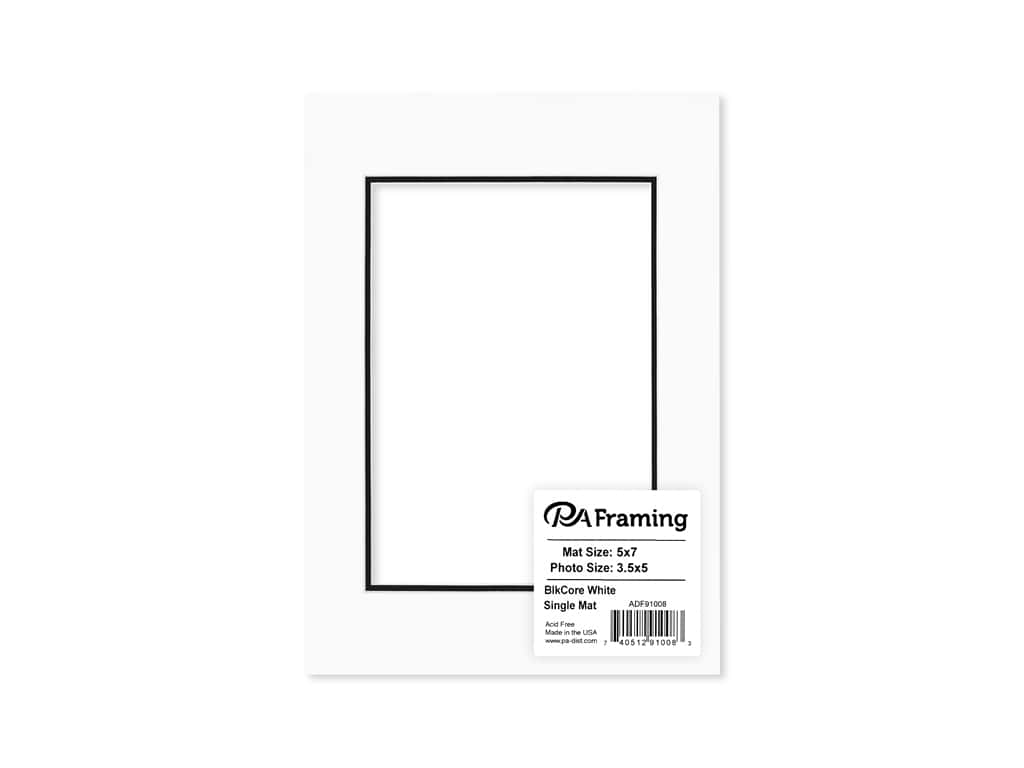 PA Framing Pre-cut Photo Mat Board Black Core 5 x 7 in. for 3 1/2 x 5 in. Photo White