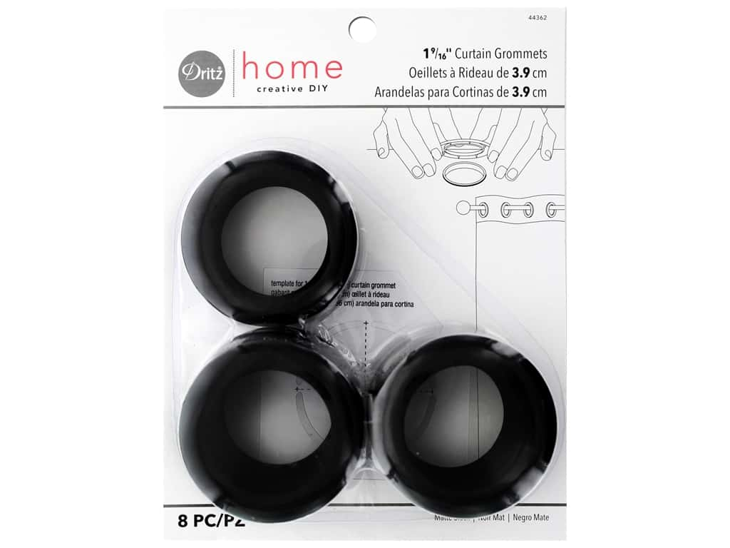 Dritz Home Curtain Grommets 1 9/16 in. Round Black 8 pc.
