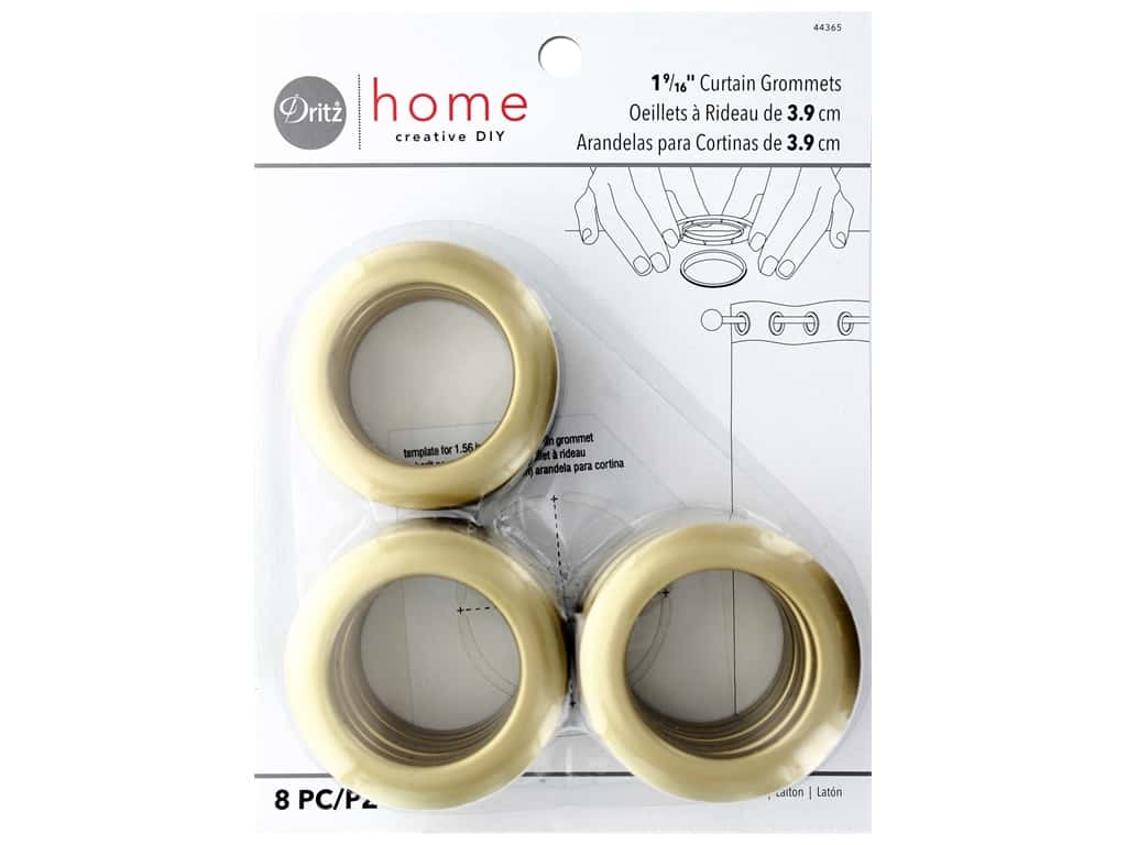 Dritz Home Curtain Grommets 1 9/16 in.  Round Brass 8 pc.