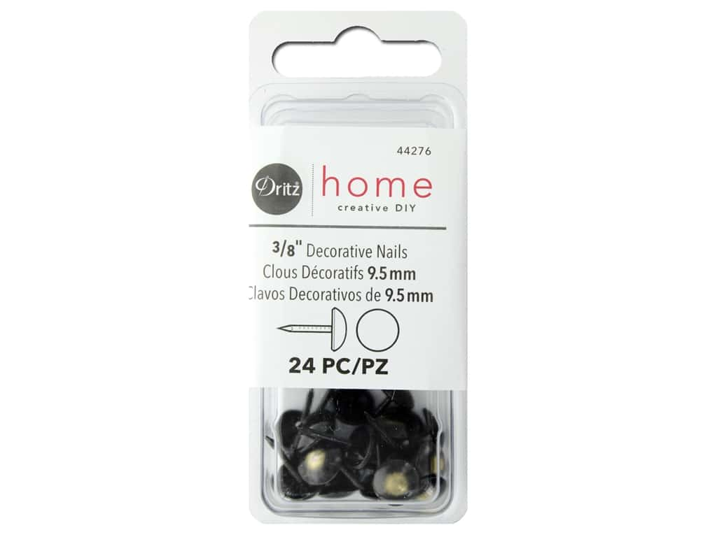 Dritz Decorative Nails 3/8 in. Round Smooth Black/Gold 24 pc.