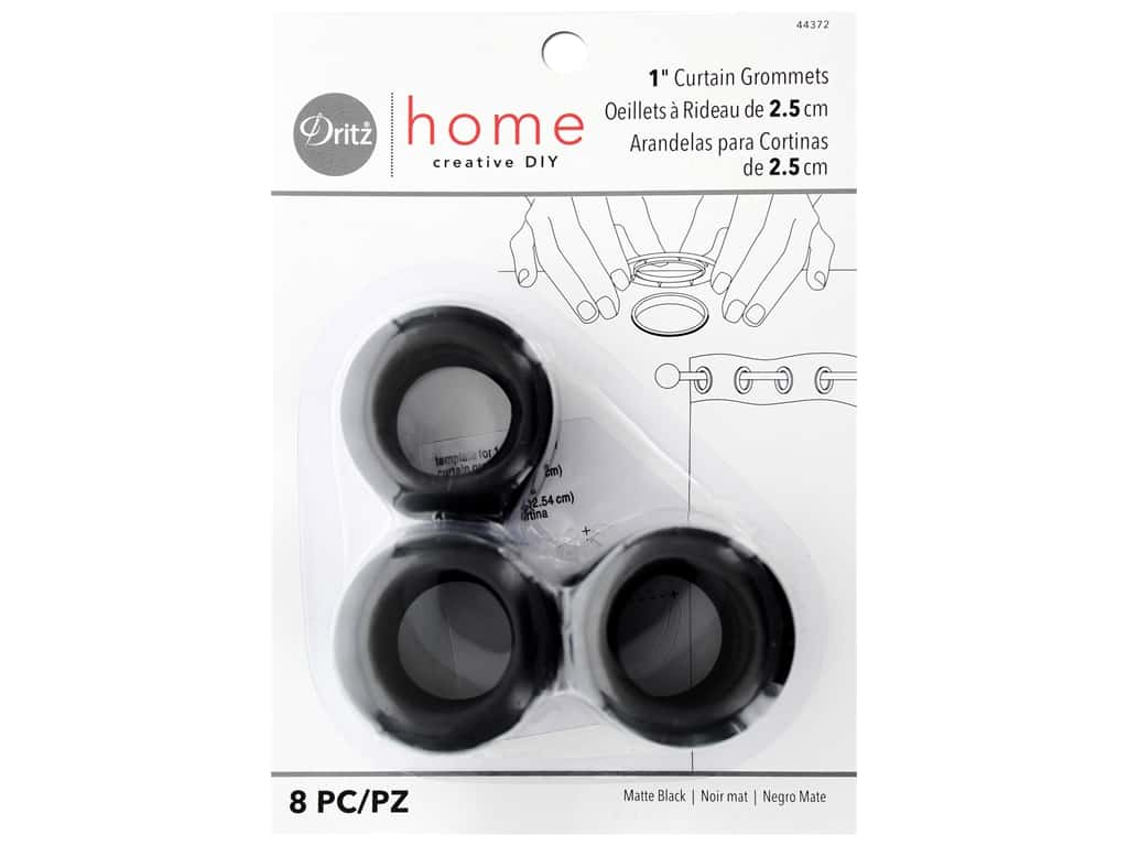 Dritz Home Curtain Grommets 1 in. Round Matte Black 8 pc