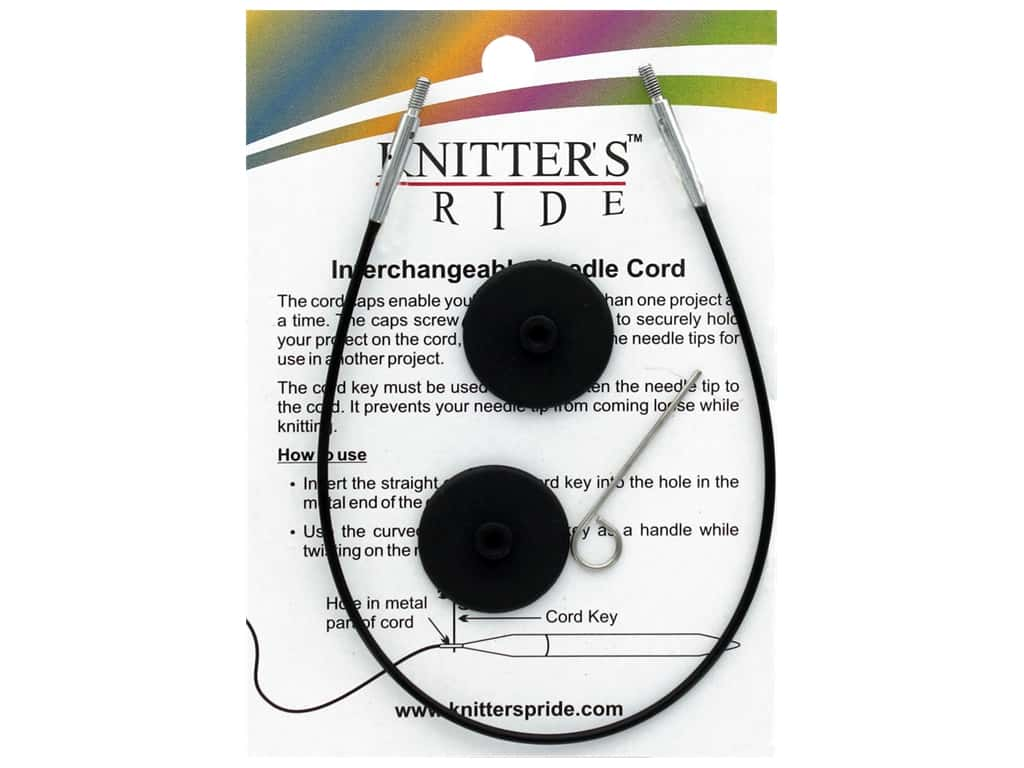 Knitter's Pride Interchangeable Needle Cord Black/Silver 16 in.