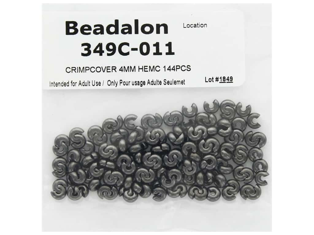 Beadalon Crimp Covers 4 mm Hematite 144 pc
