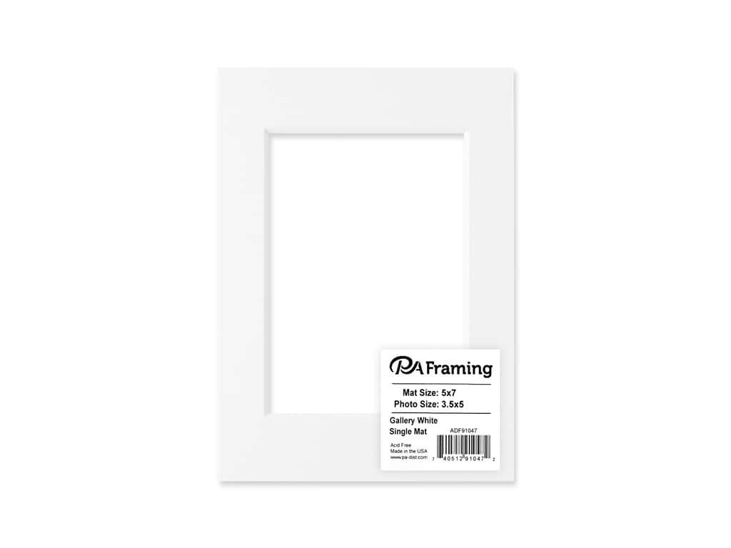 PA Framing Pre-cut Double Thick Gallery Photo Mat Board White Core 5 x 7 in. for 3 1/2 x 5 in. Photo White