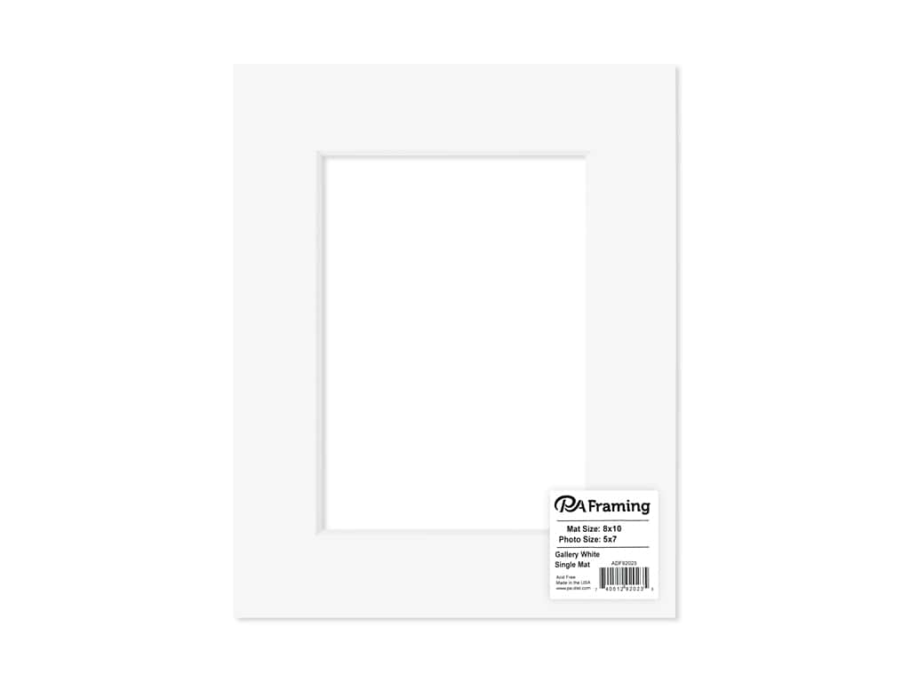 PA Framing Pre-cut Photo Mat Board  White Core 8 x 10 in. for 5 x 7 in. Photo White