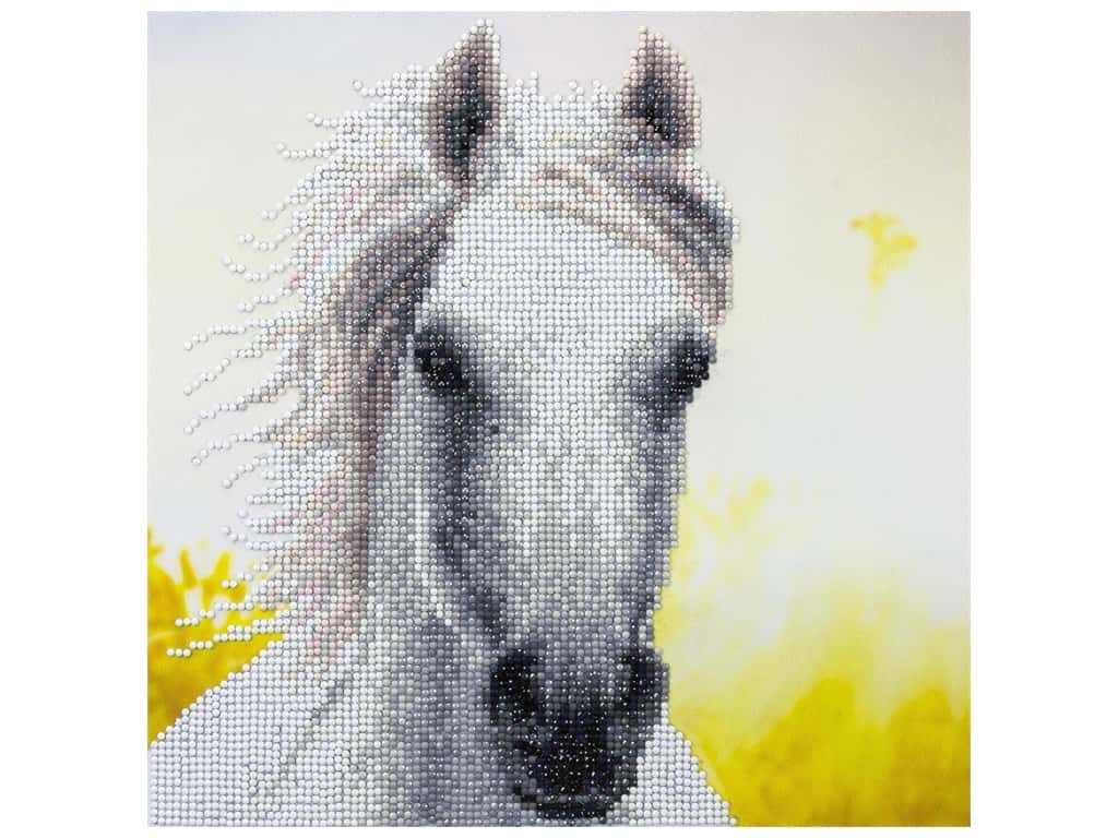 Diamond Art Kit 12 in. x 12 in. Intermediate White Horse