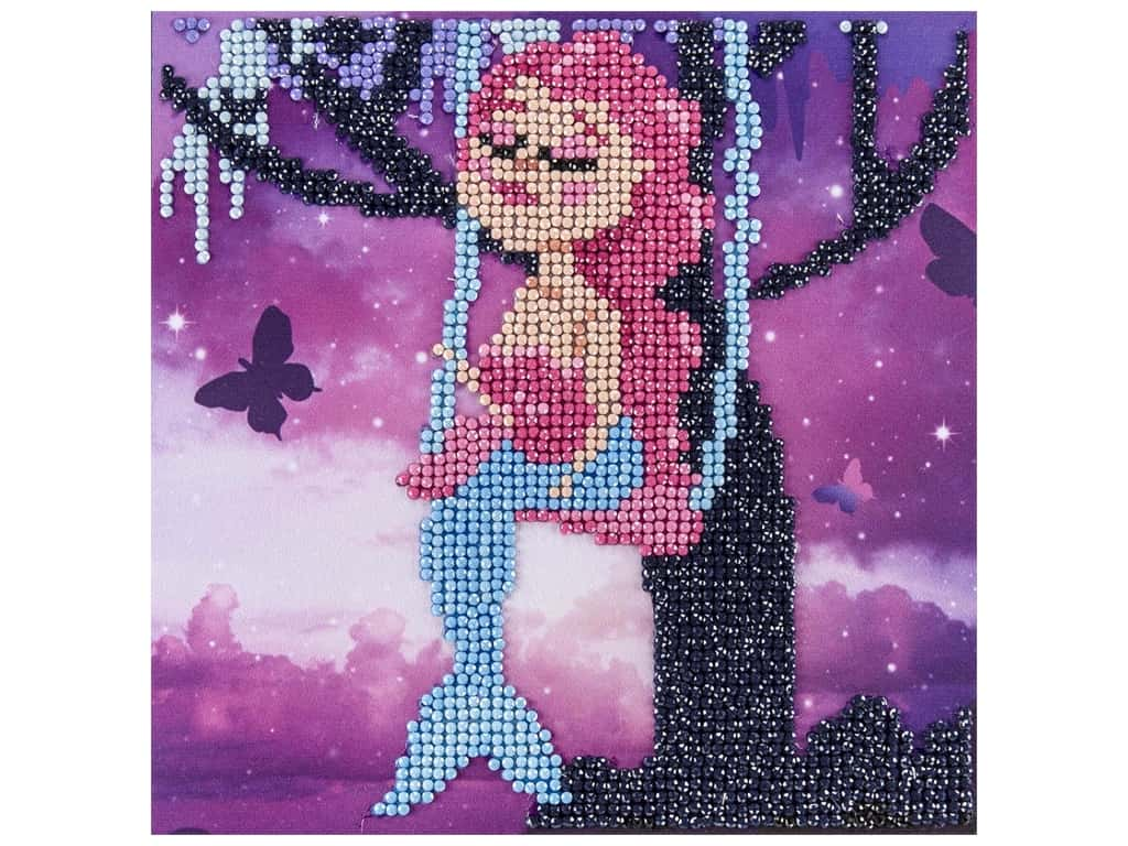 Diamond Art Kit 8 in. x 8 in. Sparkle Swinging Mermaid