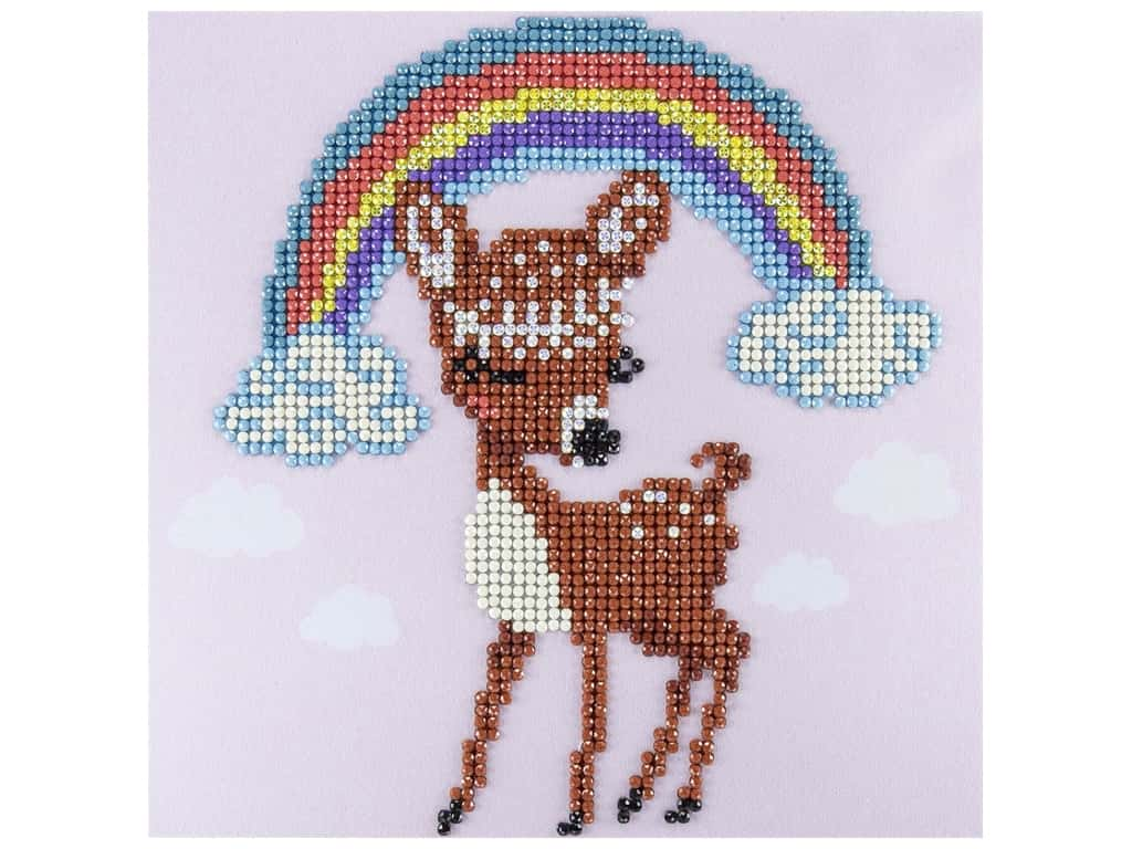 Diamond Art Kit 8 in. x 8 in. Sparkle Rainbow Deer