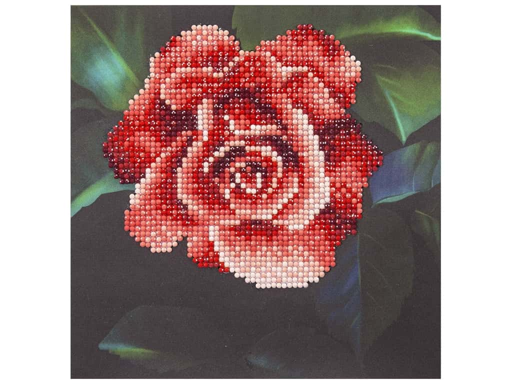 Diamond Art Kit 8 in. x 8 in. Beginner Red Rose