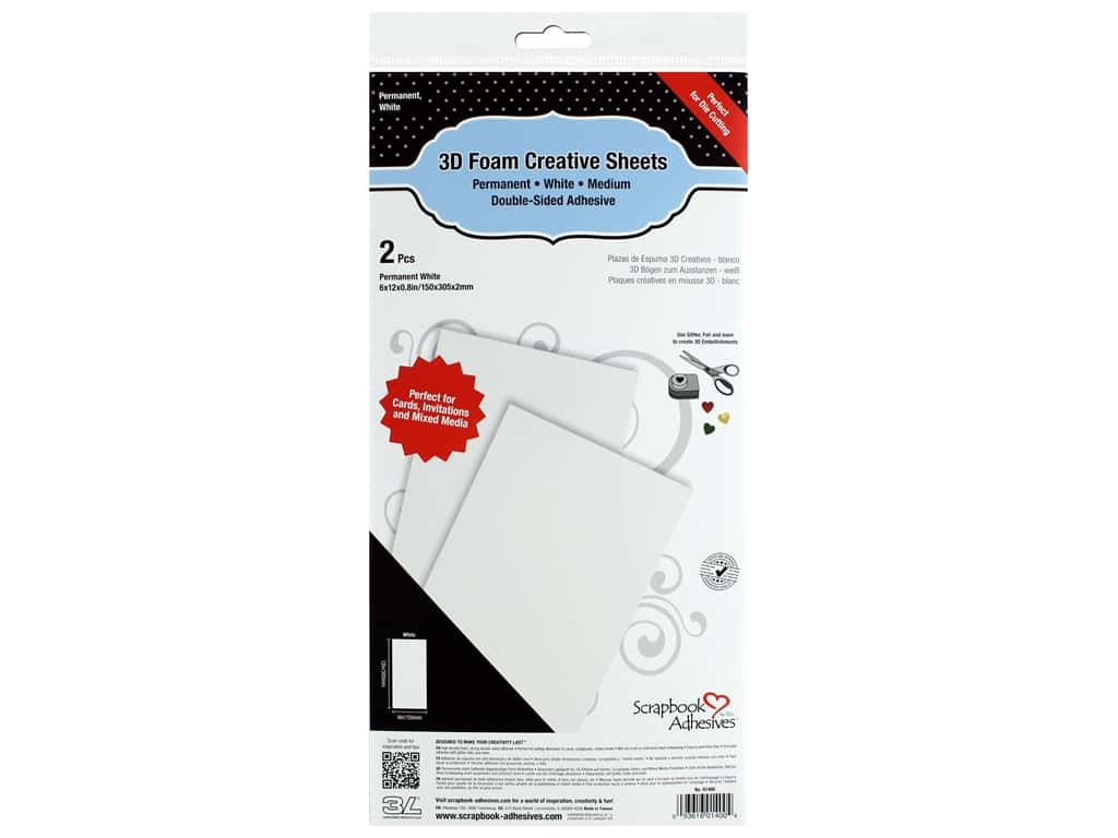 Scapbook Adhesives - 3D Foam Creative Sheet -  White 2 pc.