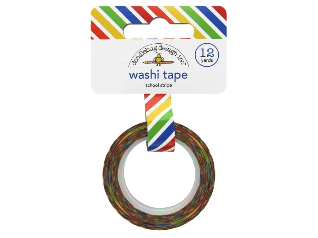 Doodlebug Washi Tape 5/8 in. x 12 yd. Back To School School Stripe