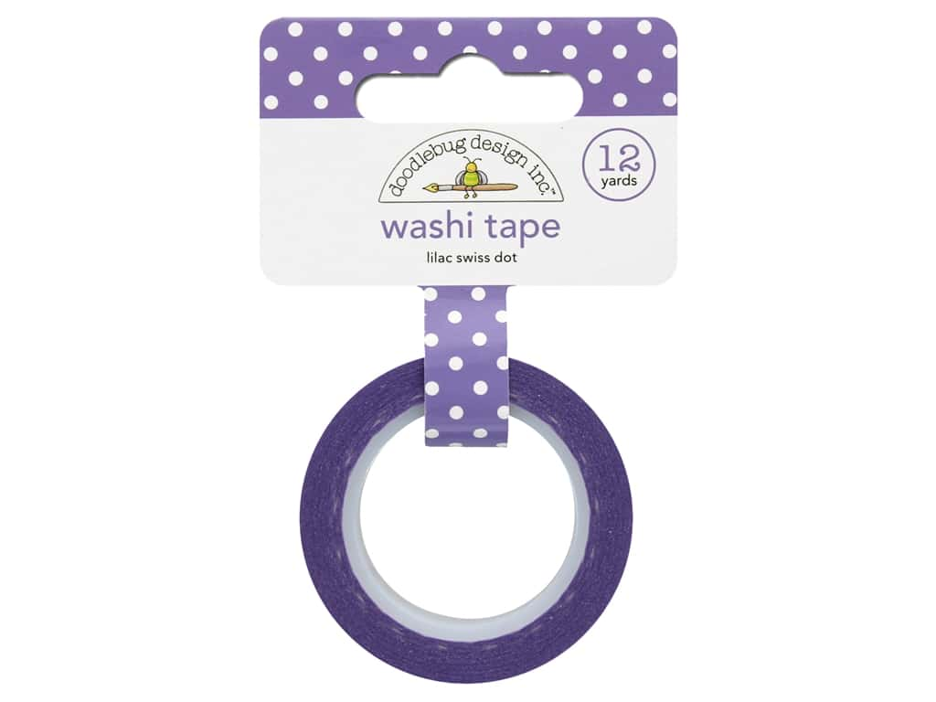 Doodlebug Washi Tape 5/8 in. x 12 yd. Swiss Dot Lilac