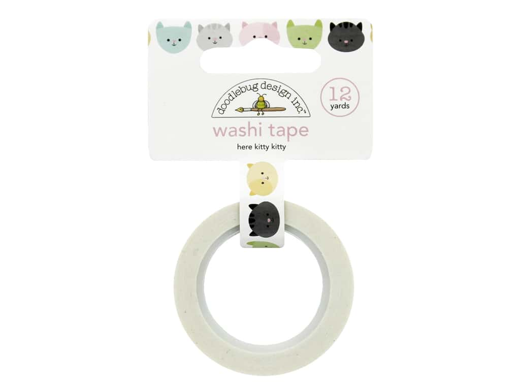 Doodlebug Washi Tape 5/8 in. x 12 yd. Kitten Smitten Here Kitty Kitty