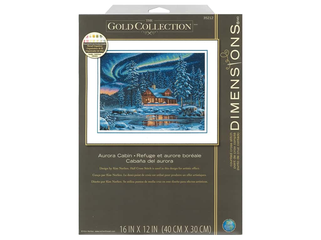 Dimensions Counted Cross Stitch Kit 16 x 12 in. Aurora Cabin