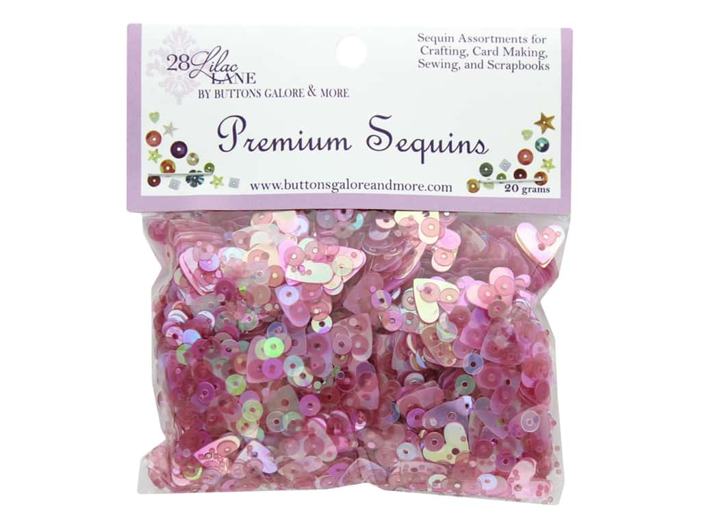 Buttons Galore 28 Lilac Lane Premium Sequins Think Pink