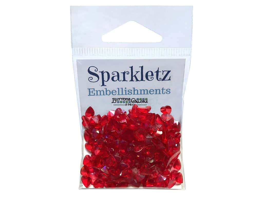 Buttons Galore Sparkletz - Red Hearts (3 sets)