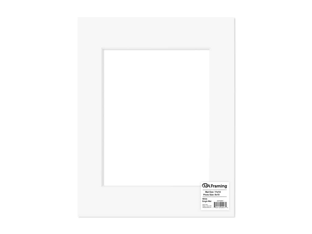PA Framing Pre-cut Photo Mat Board White Core 11 x 14 in. for 8 x 10 in. Photo White