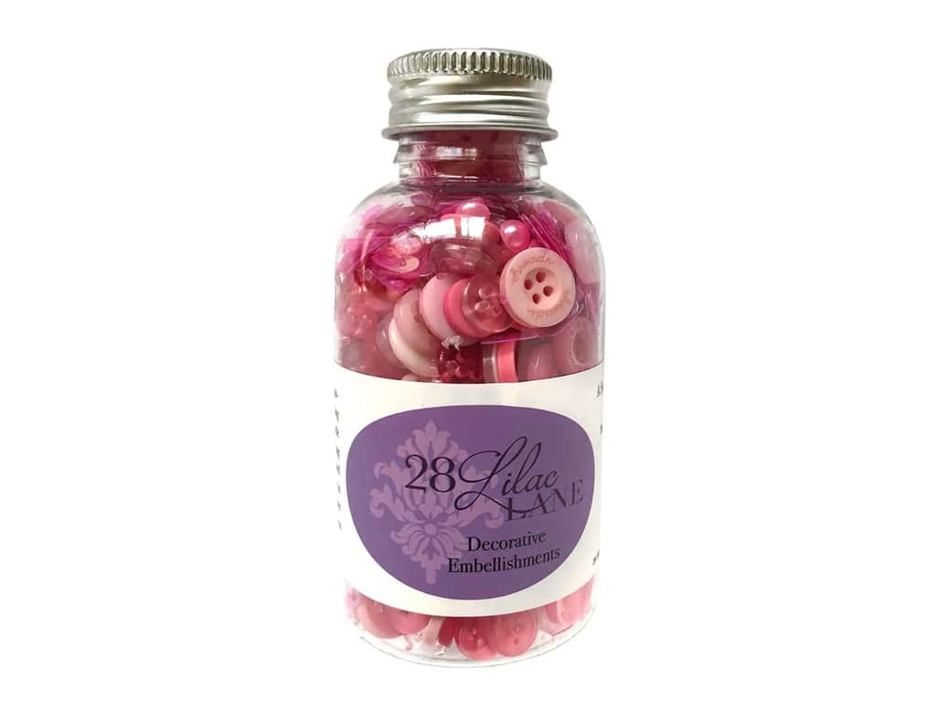 Buttons Galore 28 Lilac Lane Embellishment Bottle Rose All Day