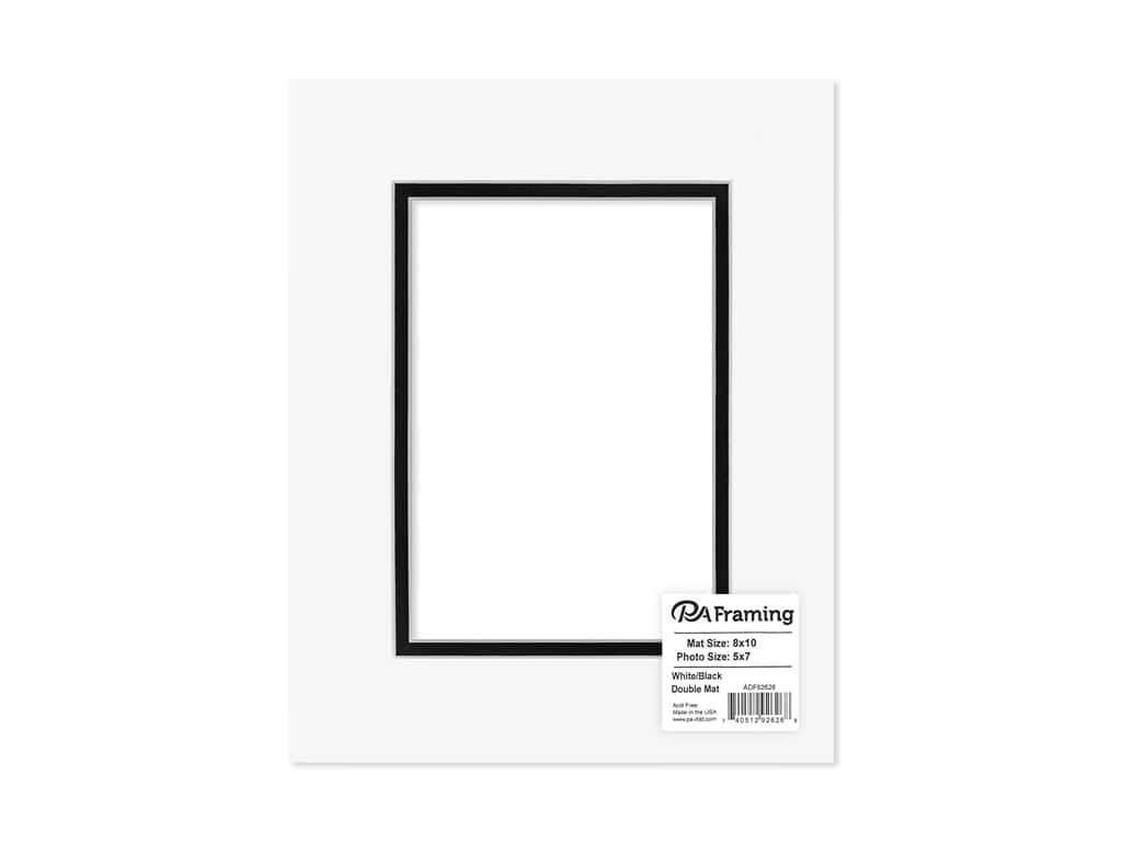 PA Framing Pre-cut Double Photo Mat Board White Core 8 x 10 in. for 5 x 7 in. Photo White/Black