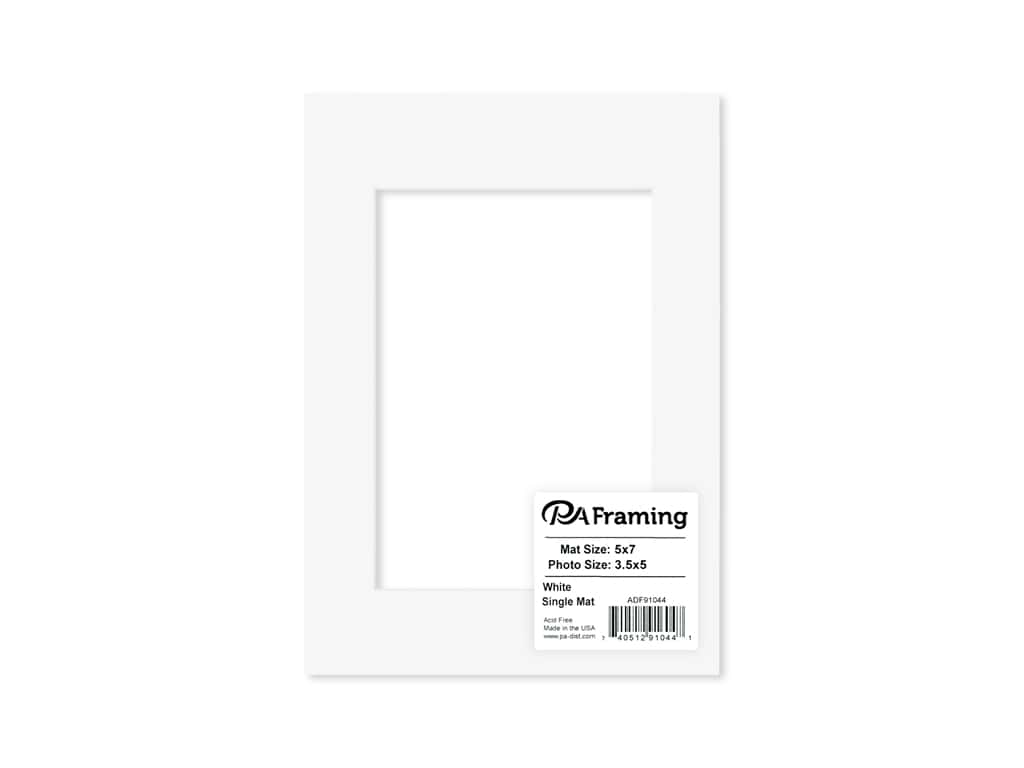 PA Framing Pre-cut Photo Mat Board White Core 5 x 7 in. for 3 1/2 x 5 in. Photo White