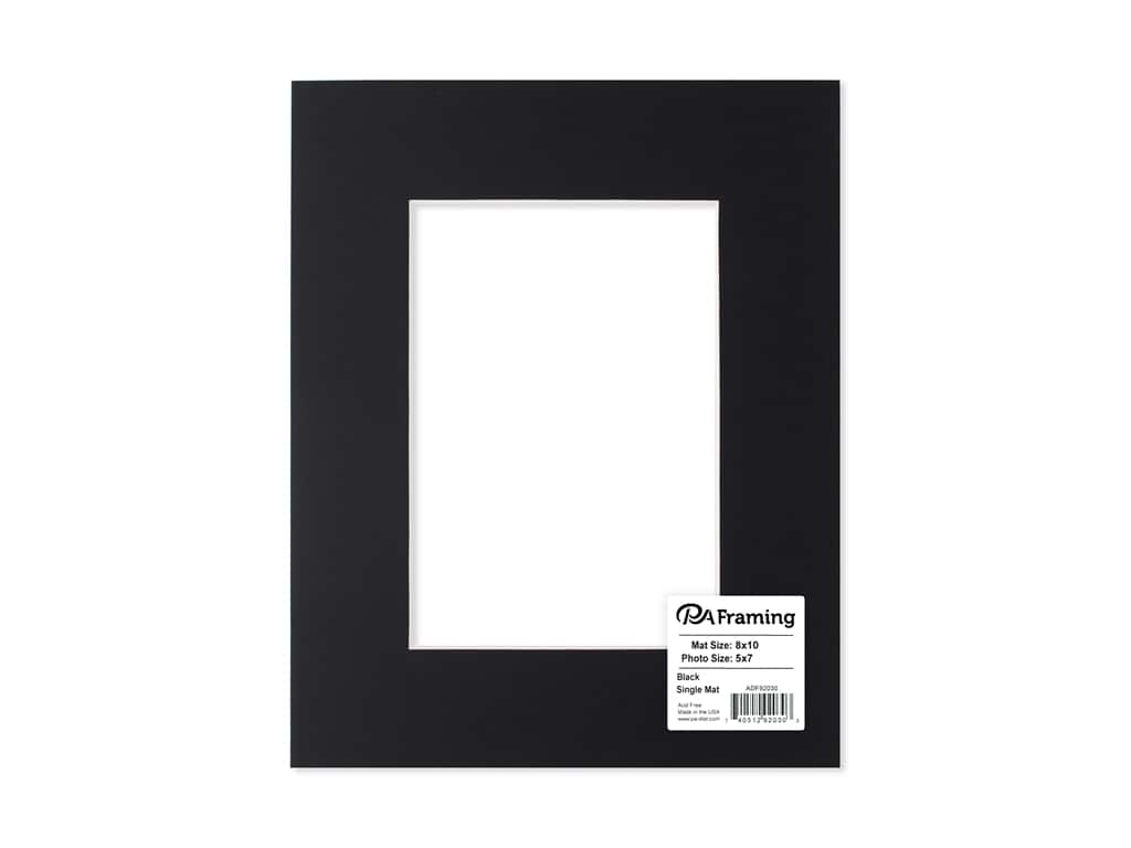 PA Framing Pre-cut Photo Mat Board White Core 8 x 10 in. for 5 x 7 in. Photo Black