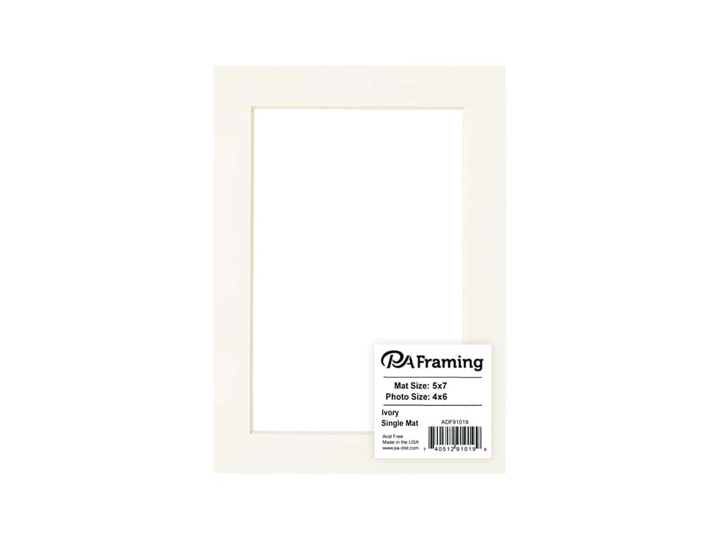 PA Framing Pre-cut Photo Mat Board Cream Core 5 x 7 in. for 4 x 6 in. Photo Ivory