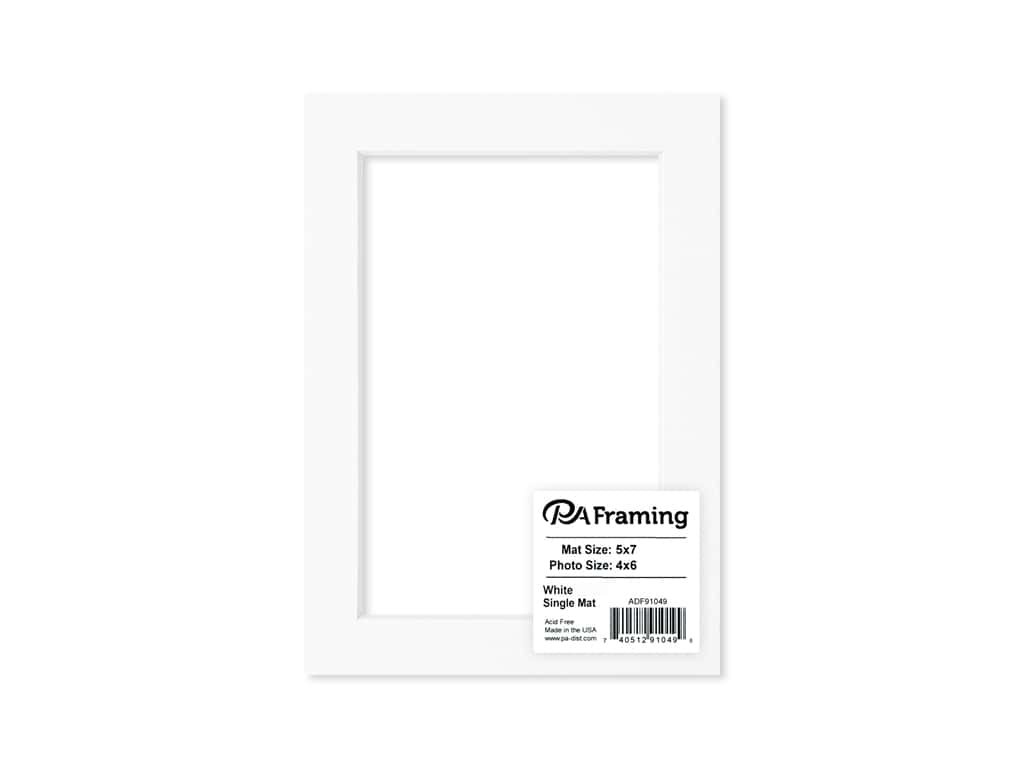 PA Framing Pre-cut Photo Mat Board White Core 5 x 7 in. for 4 x 6 in. Photo White