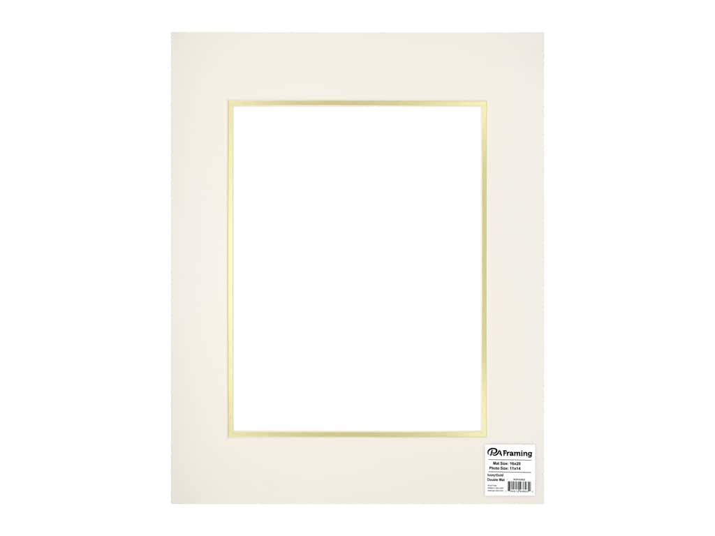 PA Framing Pre-cut Double Photo Mat Board Cream Core 16 x 20 in. for 11 x 14 in. Photo Ivory/Gold