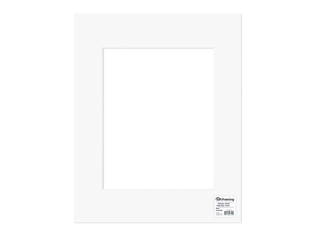 PA Framing Pre-cut Photo Mat Board White Core 16 x 20 in. for 11 x 14 in. Photo White
