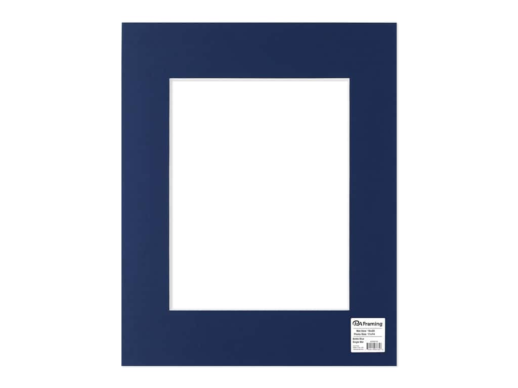 "PA Framing Mat 16""x 20"" /11""x 14"" White Core Bottle Blue"
