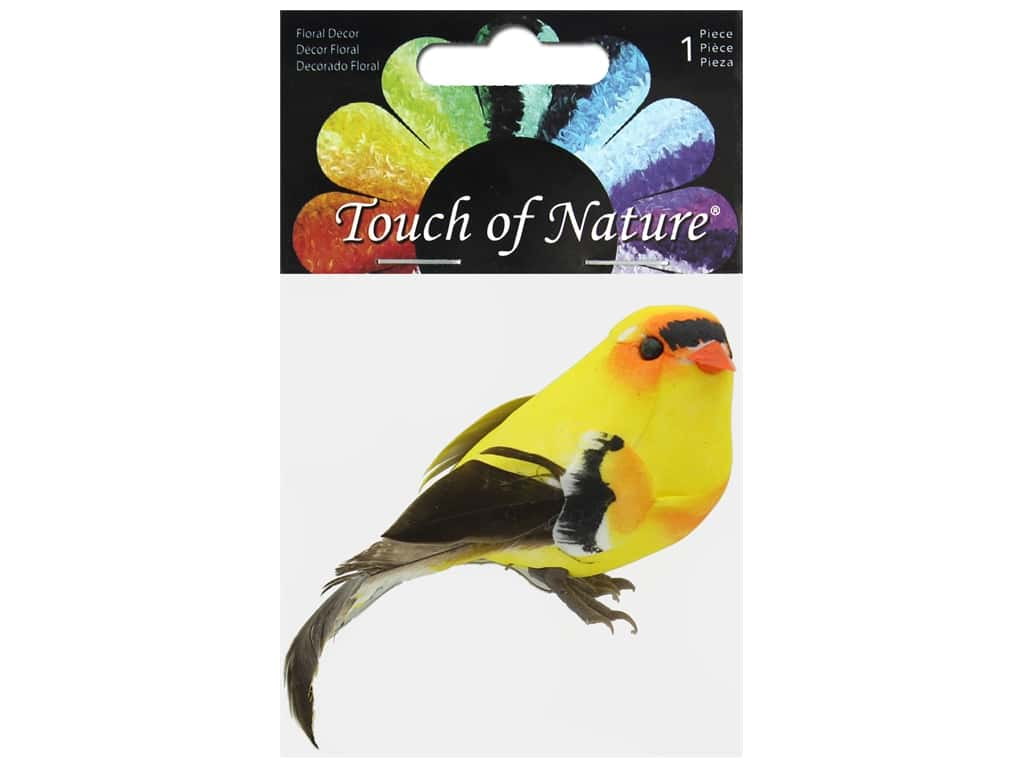 Midwest Design Birds Feather Goldfinch 4 in.