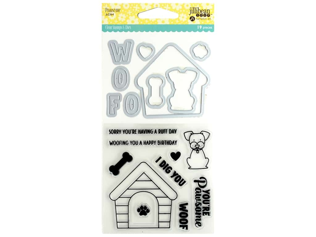 Jillibean Soup Clear Stamp And Die Pawsome
