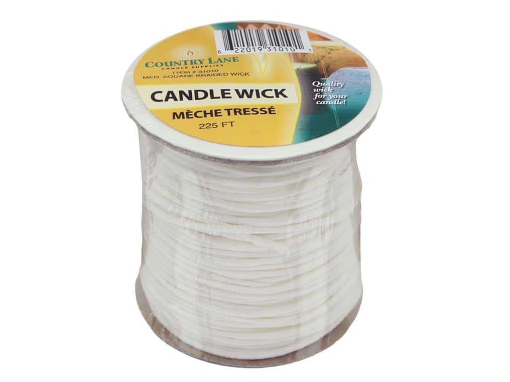 Country Lane Candle Wick Square Braided Bleached Medium 225' Spool