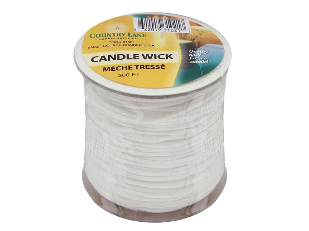 Country Lane Candle Wick Square Braided Bleached Small 300 ft. Spool