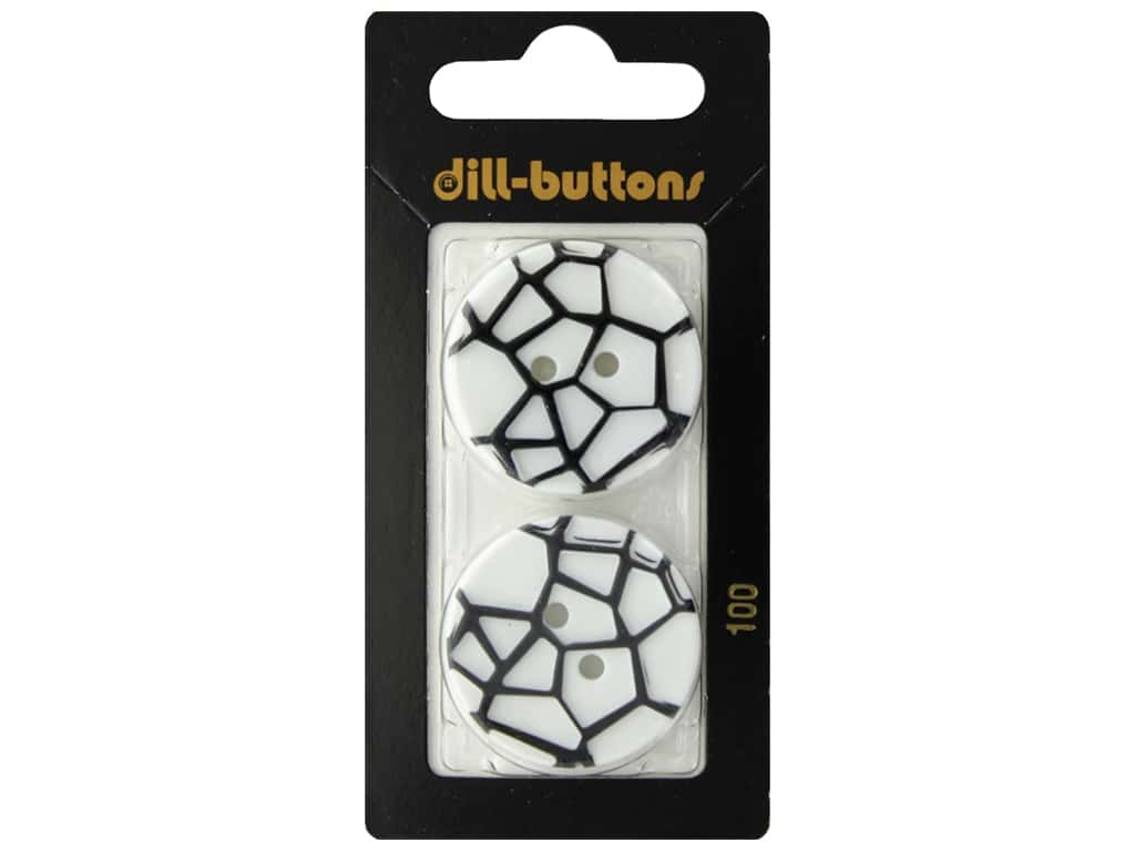 Dill 2 Hole Buttons 1 1/8 in. White & Black #100 2 pc.