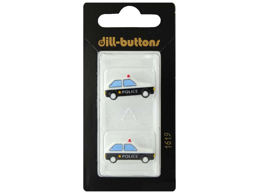 Dill Shank Buttons 1 in. Police Car #1619 2 pc.