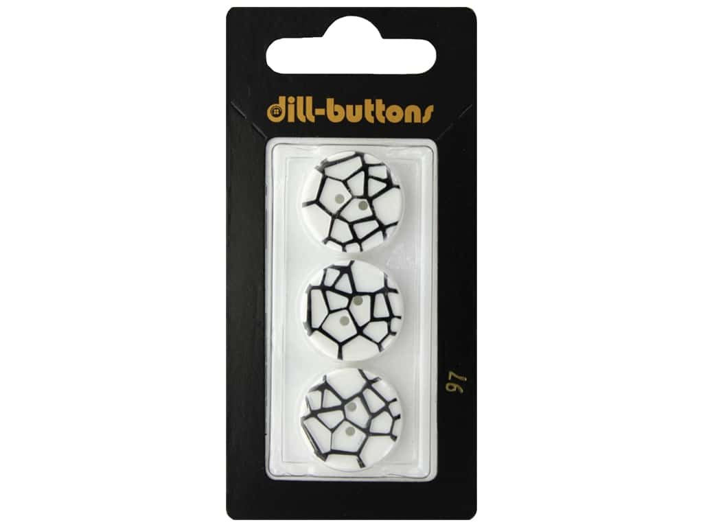 Dill 2 Hole Buttons 3/4 in. White & Black #97 3 pc.