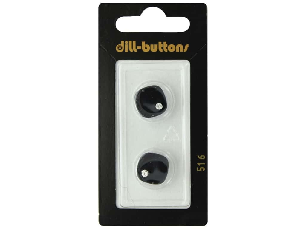 Dill Shank Buttons 9/16 in. Black Square with Gem #516 2 pc.