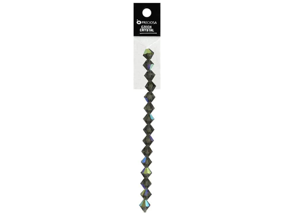 John Bead Preciosa 5 in. Strand Rondell 8 mm Black Diamond Aurora Borealis