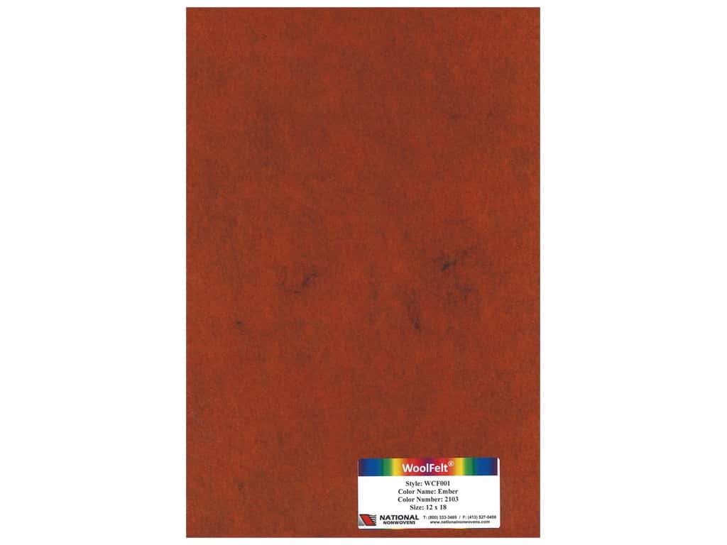 National Nonwovens 20% Wool Felt 12 x 18 in. Ember (10 pieces)