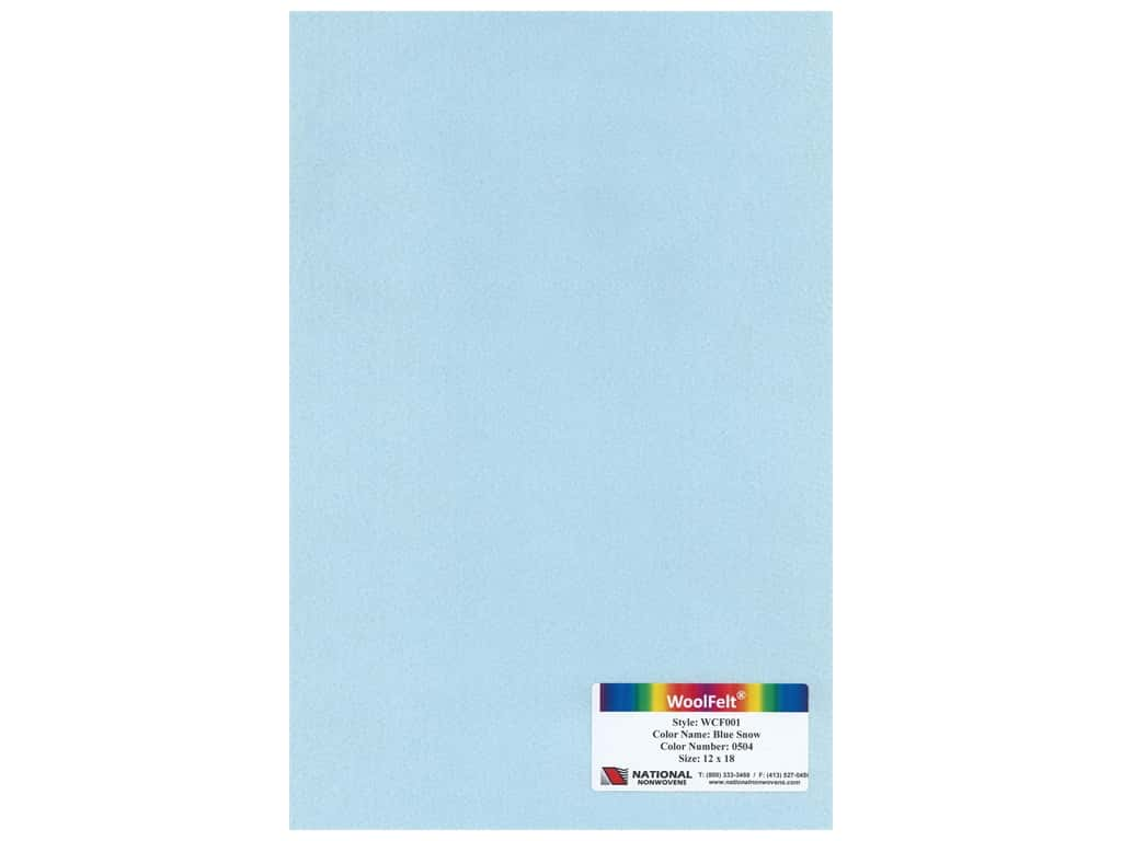 National Nonwovens 20% Wool Felt 12 x 18 in. Blue Snow (10 pieces)