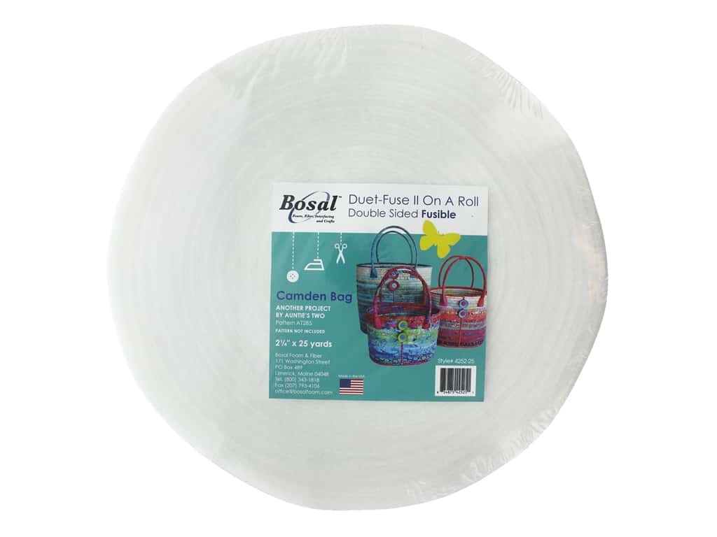 """Bosal Fusible Web Adhesive Duet-Fuse II Double Sided Fusible 2.25""""x 25yd Camden Bag"""