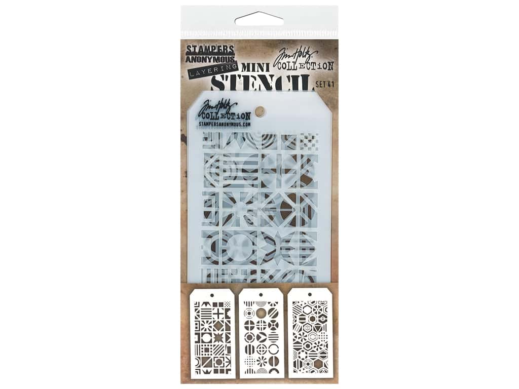 Stampers Anonymous Tim Holtz Layering Mini Stencil Set #41