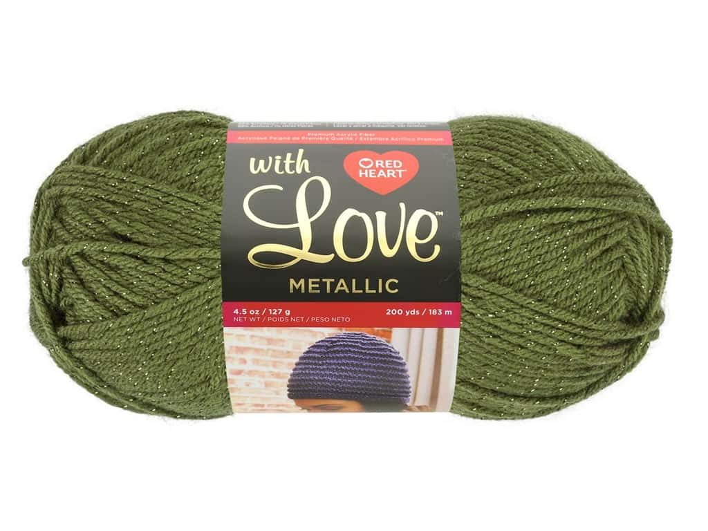 Red Heart With Love Metallic Yarn 200 yd. Olive