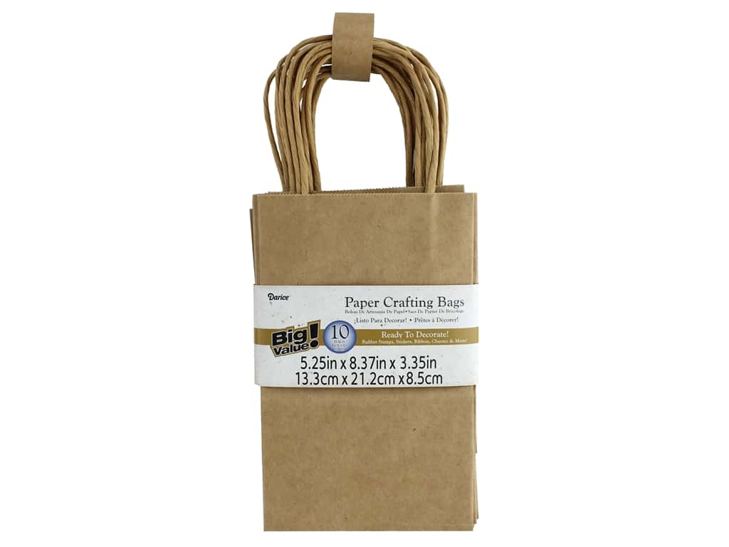 Darice Bag Big Value 5.25 in. x 8.375 in. Kraft 10 pc