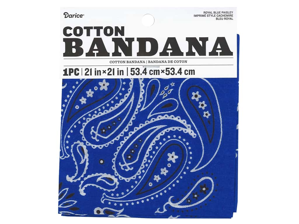 Darice Bandana 21 x 21 in. Paisley Royal Blue